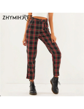 Zhymihret 2019 Autumn Cotton Straight Plaid Women's Pants Ankle Length Zipper Capris Casual Mid Waist Trousers Pantalon Femme by Ali Express.Com