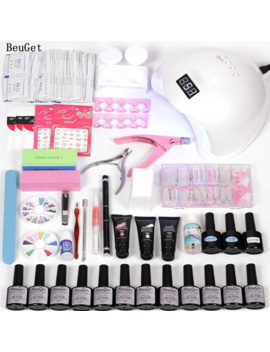 Nail Tool Poly Gel Set Quick Extension Gel Nail Gel Tools For Manicure Set Gel Varnish Set Uv Led With 48w Led Nail Lamp by Ali Express.Com