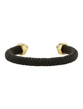 Black & Gold Braided Cuff Bracelet by Versace