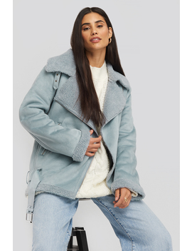 Fake Suede Bonded Aviator Jacket Blue by Na Kd Trend