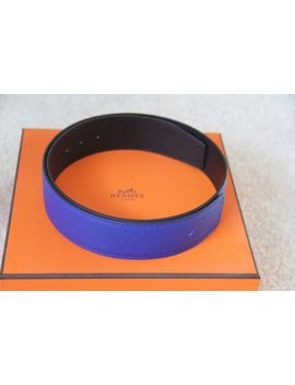 100% Auth Hermes Black/Blue Electric Epsom&Chamonix Leather Belt 42 Mm   Size 75 by Hermes