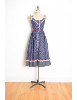 Vintage 70s Gunne Sax Dress Navy Floral Calico Print Hippie Boho Prairie Sun Dress S Clothing by Etsy