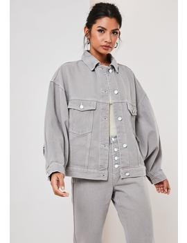 Gray Co Ord Oversized 80s Batwing Denim Jacket by Missguided