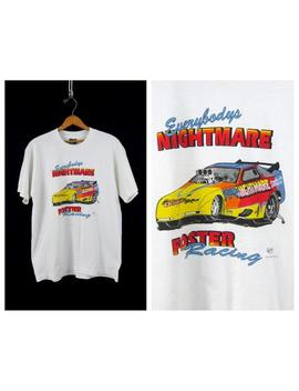 Foster Racing T Shirt Vintage Distressed White Race Car T Shirt Coed Size Medium Large by Etsy