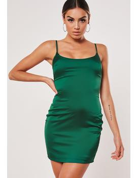 Tall Green Stretch Satin Bodycon Mini Dress by Missguided