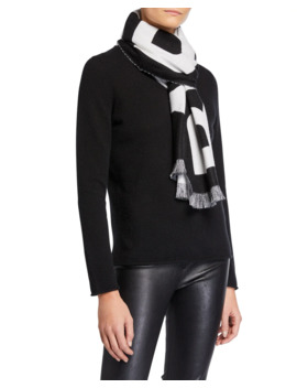 Logo Text Wool Football Scarf by Burberry