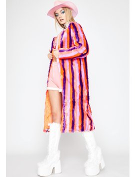 Sweet Like Sugar Faux Fur Coat by Dolls Kill