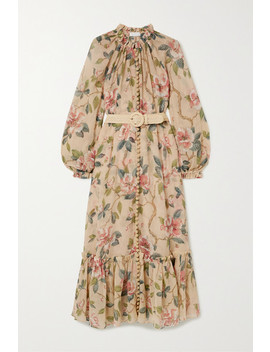 Kirra Belted Cotton And Silk Blend Crepon Maxi Dress by Zimmermann