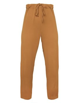 Tan Woven Tapered Leg Trouser by Prettylittlething