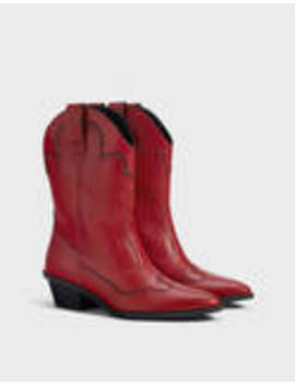 High Heel Cowboy Ankle Boots With Topstitching by Bershka
