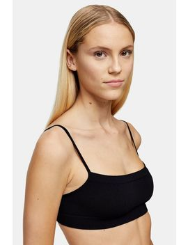 Black Ribbed Straight Neck Crop Top by Topshop