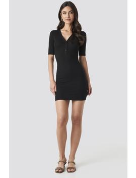 Ribbed Short Sleeve Dress Zwart by Na Kd