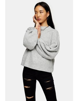 Grey Marl Super Soft Balloon Sleeve Jumper by Topshop