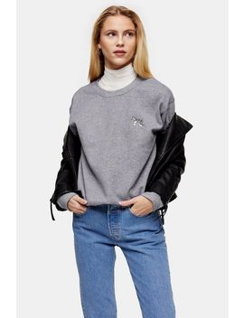 Dark Grey Tiger Emoji Sweatshirt by Topshop