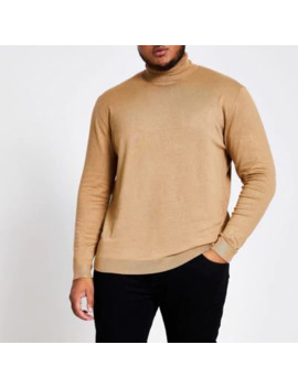 Big And Tall Brown Slim Fit Roll Neck Jumper by River Island