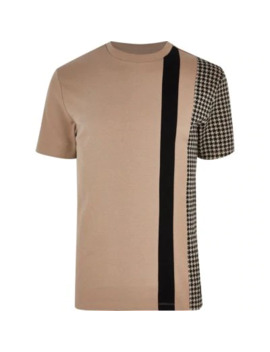 Big And Tall Brown Check Blocked T Shirt by River Island