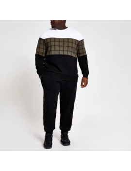 Big And Tall Check Blocked Slim Sweatshirt by River Island