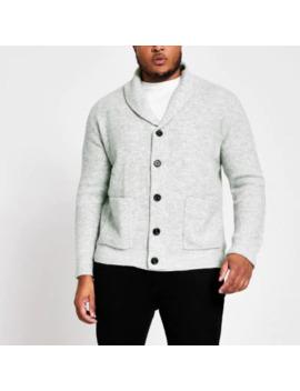 Big And Tall Grey Knit Shawl Collar Cardigan by River Island