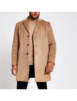 Big And Tall Brown Single Breasted Overcoat by River Island