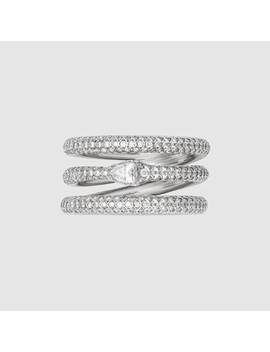 White Gold And Diamond Three Band Ouroboros Ring by Gucci