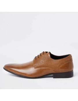 Brown Line Embossed Lace Up Derby Shoes by River Island