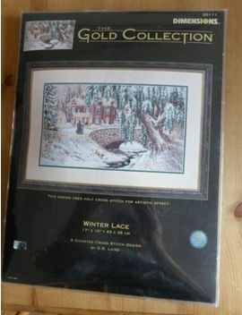 """Dimensions Gold Collection Cross Stitch Kit """" Winter Lace """" Opened But Unstarted by Ebay Seller"""