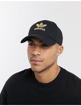 Adidas Originals Cap With Gold Trefoil Logo In Black by Adidas Originals