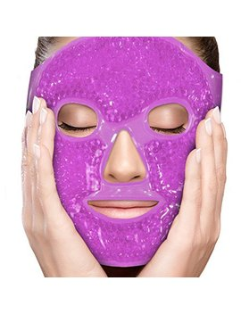 Perfe Core Facial Mask   Get Rid Of Puffy Eyes   Migraine Relief, Sleeping, Travel Therapeutic Hot Cold Compress Pack   Gel Beads, Spa Therapy Wrap For Sinus Pressure Face Puffiness Headaches   Purple by Perfecore