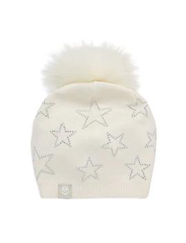 Embellished Wool & Cashmere Fox Fur Pom Pom Beanie by Furlux