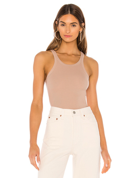 Ribbed Skinny Racer Tank by Lna