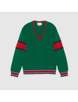 Cable Knit V Neck Sweater by Gucci