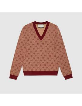 Gg Jacquard Knit V Neck Sweater by Gucci
