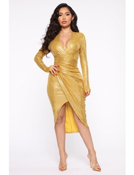 Outshine Them All Sequin Midi Dress   Mustard by Fashion Nova