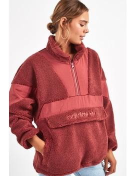Adidas Originals Burnt Red Sherpa 1/4 Zip Top by Next