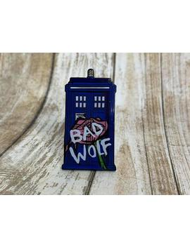 Bad Wolf Tardis, Screen Printed, Rose Tyler, Floral Tardis Pin, Doctor Who Pin by Etsy