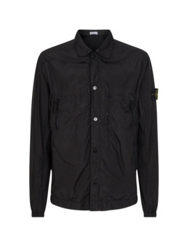 Resin Coated Crinkle Overshirt by Stone Island