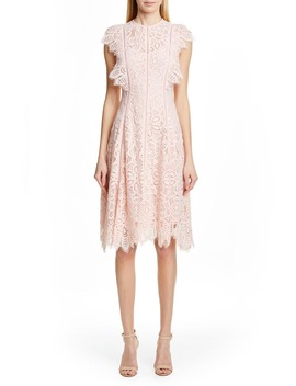 Flutter Sleeve Lace Dress by Lela Rose