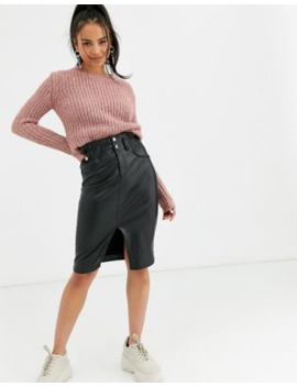 Bershka Faux Leather Midi Skirt In Black by Bershka