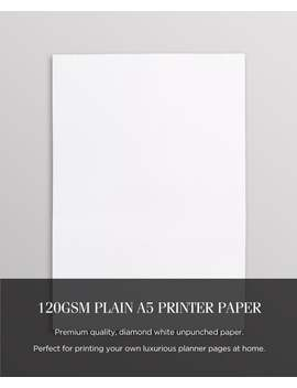 Plain A5 Printer Paper 120gsm, Premium A5 Paper, High Quality A5 Planner Paper, A5 Planner Refills, Planner Printer Paper For Printables by Etsy