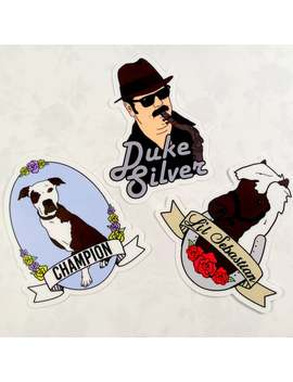Parks And Recreation Sticker,Duke Silver, Lil' Sebastian, Champion, Set Of 3, Sticker, Waterbottle Sticker, Beetlejuice by Etsy