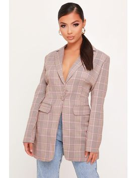 Brown Check Long Line Blazer by I Saw It First