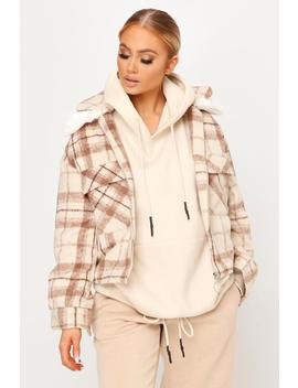 Stone Faux Fur Collar Check Jacket by I Saw It First