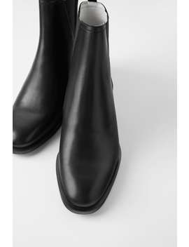 Contrast Low Heel Leather Ankle Boots by Zara