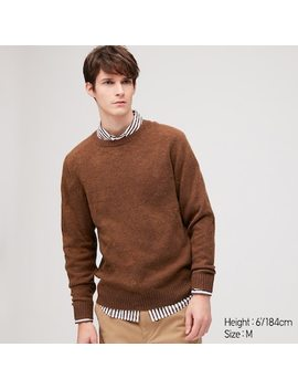 Men Premium Lambswool Crew Neck Jumper (25) by Uniqlo