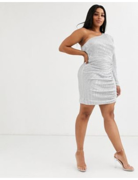 Lavish Alice Plus Structured One Shoulder Mini Dress In Silver Sequin by Lavish Alice