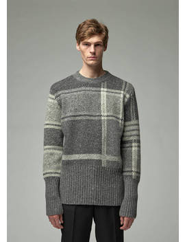 Donegal Oversized Plaid Jacquard Crew Pullover by Thom Browne