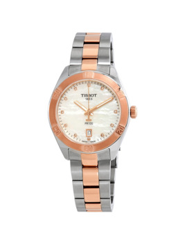 Pr100 Diamond White Mother Of Pearl Dial Ladies Watch by Tissot