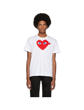 White Big Heart Blue Eyes T Shirt by Comme Des GarÇons Play