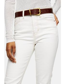 Brown Leather Belt With Holes by Topshop