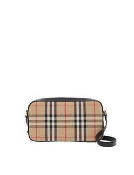 Small Vintage Check And Leather Camera Bag by Burberry